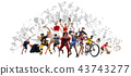 Sport collage about kickboxing, soccer, american football, basketball, ice hockey, badminton 43743277