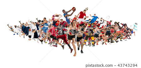 Sport collage about kickboxing, soccer, american football, basketball, ice hockey, badminton 43743294