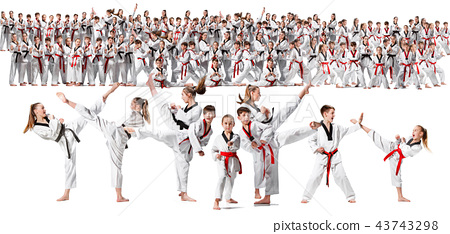 The collage about group of kids training karate martial arts 43743298