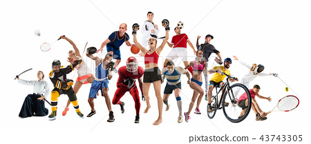 Sport collage about kickboxing, soccer, american football, basketball, ice hockey, badminton 43743305