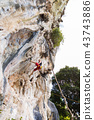 Young man rock climbing on white mountain Thailand 43743886
