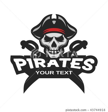 Skull pirates and swords. Mascot logo. 43744918