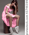 Beautiful young girl fashion girl in pink dress 43746399