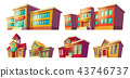 Set of cartoon illustrations cartoon of various color old, retro and modern educational institutions 43746737