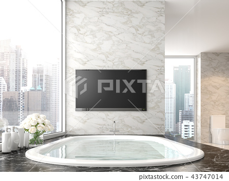 Luxury bathroom with city view 3d render 43747014