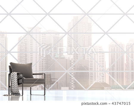 Modern building interior with city view 3d render 43747015