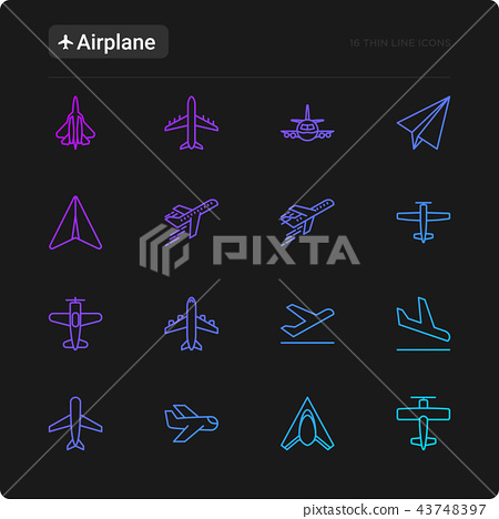 Airplane thin line icons set 43748397