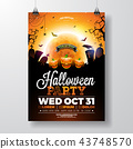 Halloween Party flyer vector illustration with scary faced pumpkin on mysterious moon background 43748570