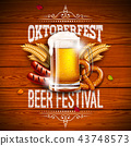 Oktoberfest Banner Illustration with Typography Lettering and Fresh Beer on Vintage Wood Background 43748573
