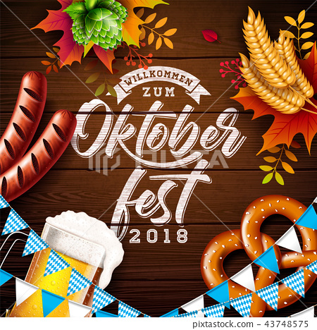 Oktoberfest Banner Illustration with Typography Lettering and Fresh Beer on Vintage Wood Background 43748575