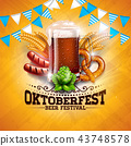 Oktoberfest Banner Illustration with Fresh Beer, Wheat and Hop on Shiny Yellow Background. Vector 43748578