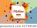 Autumn Illustration with Colorful Falling Leaves, Chestnut and Lettering on Abstract Colorful 43748580