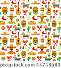 pattern with traditional Mexican attributes 43748680