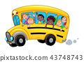 Cartoon school bus with happy child students 43748743