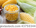 Canned sweet corn, fresh and cooked corn on cobs. 43750344