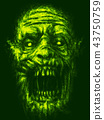 Scary zombie face on green background 43750759