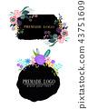 Hand drawn cute floral logo template 43751609