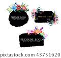 Hand drawn cute floral logo template 43751620