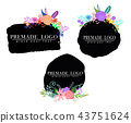 Hand drawn cute floral logo template 43751624