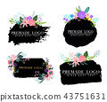 Hand drawn cute floral logo template 43751631