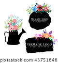 Hand drawn cute floral logo template 43751646