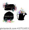 Hand drawn cute floral logo template 43751653