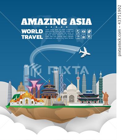 Asia famous Landmark paper art. Global Travel. 43751902