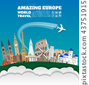 Europe famous Landmark paper art. Global Travel. 43751915