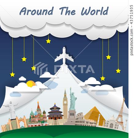 World famous Landmark paper art. Global Travel. 43751935