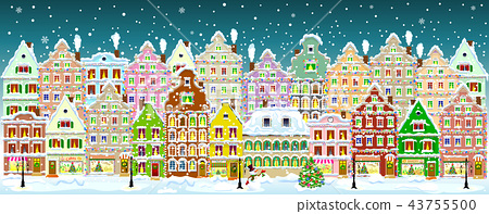 Night in the old town on the eve of Christmas 43755500