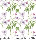 Watercolor seamless pattern False Anemone 43755782