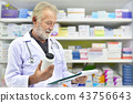 Doctor looking medicine bottle and patient chart  43756643