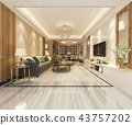 dining room and living room with luxury decor 43757202