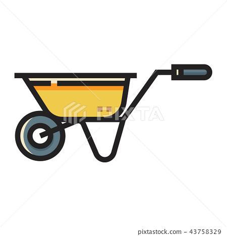 Wheelbarrow LineColor illustration 43758329