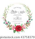การ์ดเชิญงานแต่งงานดอกไม้ลายดอกไม้การ์ดแต่งงาน ภาพวาดสีน้ำ 43758379