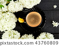 Cup of coffee with bouquet hydrangea 43760809