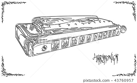 Stylized graphic arts sketch of drawing harmonica. 43760957