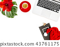 Office workplace coffee red Christmas decoration 43761175