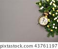 Christmas decoration antique golden clock bokeh 43761197