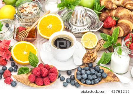 Breakfast coffee croissants muesli milk honey  43761213