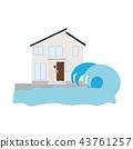 해일에 습격당하는 집의 일러스트 43761257