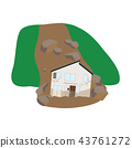 Illustration of a house attacked by a landslide 43761272