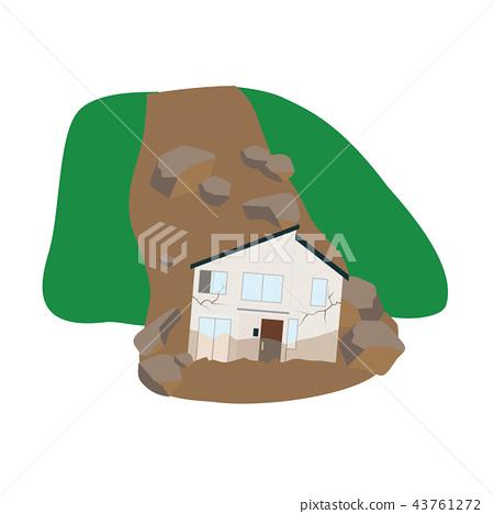 山崩襲擊的房子的例證 43761272