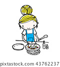 doodle vector of cute girl cooking in kitchen 43762237