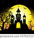 silhouette castle and bats on full moon vector 43762523