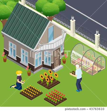 Pensioners Garden Work Isometric Illustration 43763610