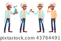 Old Man Poses Set Vector. Black. Afro American. Elderly People. Senior Person. Aged. Positive 43764491