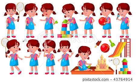 Girl Kindergarten Kid Poses Set Vector. Preschool. Young Person. Cheerful. For Web, Brochure, Poster 43764914