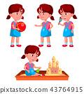 Girl Kindergarten Kid Poses Set Vector. Playful Positive Small Baby. For Presentation, Print 43764915