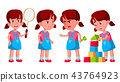 Girl Kindergarten Kid Poses Set Vector. Preschooler Playing. Friendship. For Web, Poster, Booklet 43764923